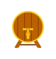 Wooden barrel with tap icon flat style vector image