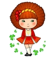 Irish dancing girl in red traditional dress vector image vector image