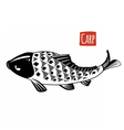Carp black and white vector image