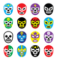Lucha libre mexican wrestling masks icons vector image