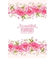Ornate pink flower decoration with text label vector image vector image