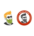 Man with beard in the form of hop emblem vector image
