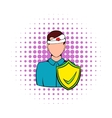 Accident insurance icon comics style vector image