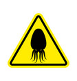 attention cuttlefish octopus on yellow triangle vector image