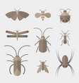 insects group on white background insect animal vector image