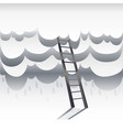 ladder leading to sky paper white clouds with vector image