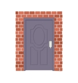 Metal door and brick wall icon cartoon style vector image