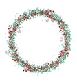 Round Christmas wreath with spruce branches and vector image