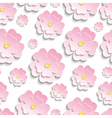 Seamless pattern with pink 3d sakura vector image