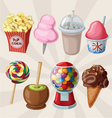 Set of fair sweets and treats vector image