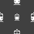 train icon sign Seamless pattern on a gray vector image