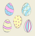 hand drawn color easter eggs vector image
