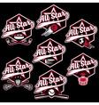 set of vintage sports all star crests vector image