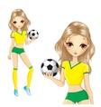 Blonde Brazilian Soccer Girl vector image