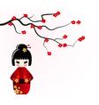 Kokeshi doll under sakura branch vector image vector image