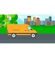 Background of the city with delivery truck vector image