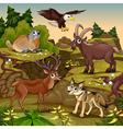 Cartoon animals deer eagle groundhog steinbock vector image