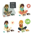 Girl Writing Text Message on phone set vector image