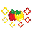 red and yellow peppers vector image