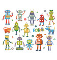 set of cartoon robots vector image