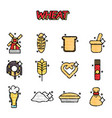 wheat flat cartoon icons vector image