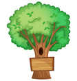 Wooden sign on the tree vector image