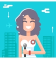 Journalist Female Girl Icon Mass Media Symbol on vector image vector image