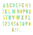 Colorful geometric font vector image
