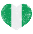 Nigeria retro heart shaped flag vector image vector image