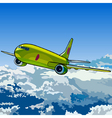 green aircraft flying in the sky above the clouds vector image