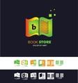 Bookstore open book logo vector image