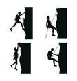 set black silhouette scene men climbing on a rock vector image