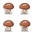set of mushroom character cartoon vector image