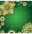 Gold-green vintage frame vector image vector image