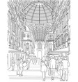 sketch of the shopping gallery vector image