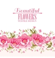 Ornate pink flower decoration with text label vector image