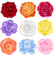 Varicolored roses set vector image vector image
