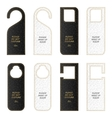 Set of eight VIP leather tag on the door with gold vector image