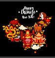 china map with chinese new year holiday symbols vector image