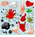 Comics hands collection vector image