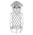 dressed up pug doggy hipster style vector image