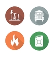 Gasoline flat design icons set vector image