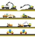 Set of seamless horizontal road construction vector image
