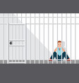 stressed businessman sitting in the jail vector image