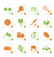stylized sports gear and tools vector image