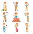 Construction Work And Kids Builders Set vector image