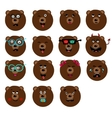 set of fun emotions bears smileys isolated on vector image