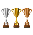 Gold silver and bronze trophy set vector image vector image
