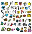 comic icons colorful vector image vector image