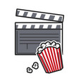 popcorn and movie clapper usa america tourist vector image vector image
